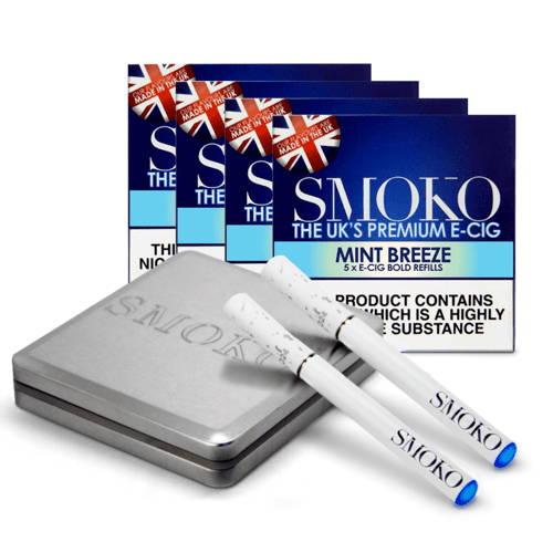 Le meilleur kit de démarrage pour les cigarettes électroniques au Royaume-Uni. 4 packs de recharges de cigarettes électroniques. 1 batterie supplémentaire e-cigarette