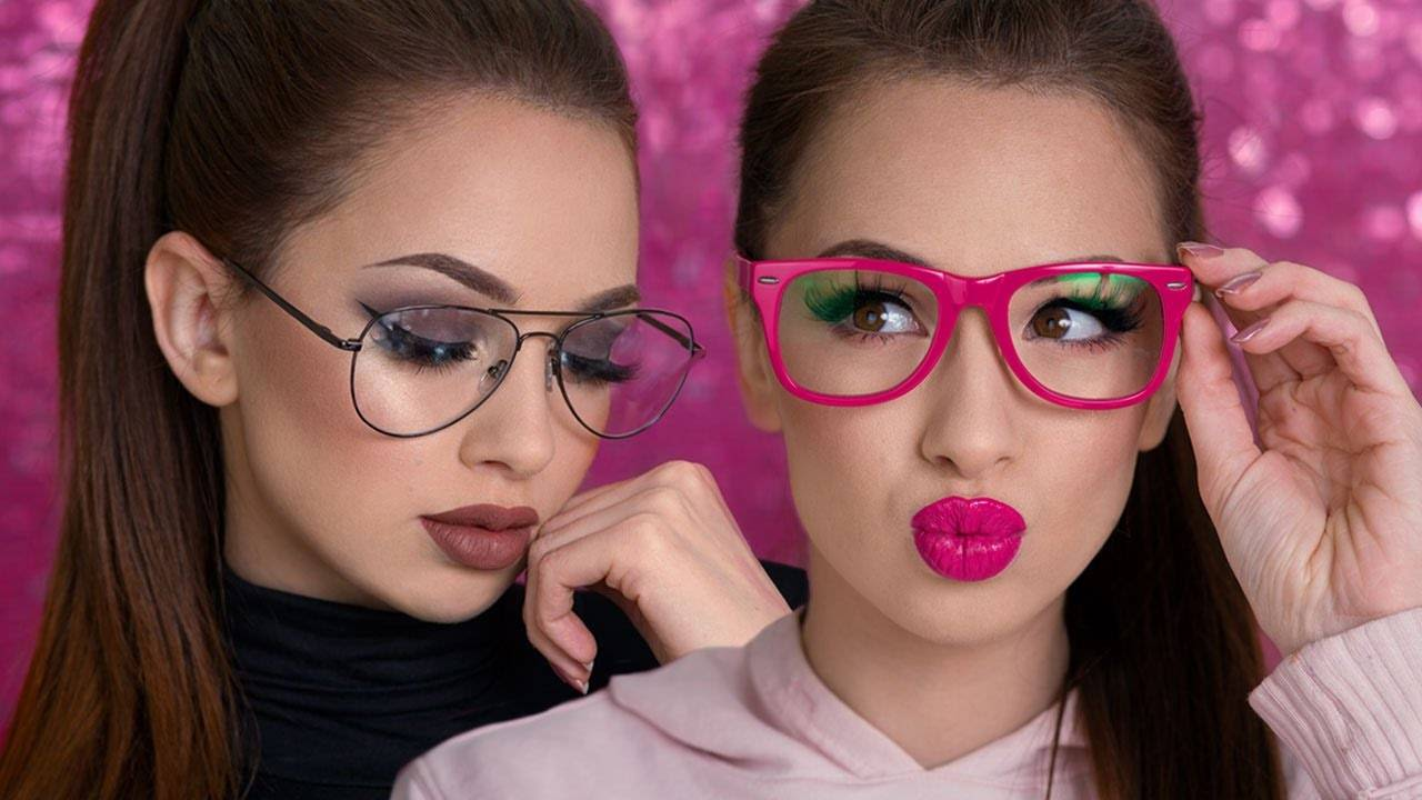 Combination of makeup and glasses