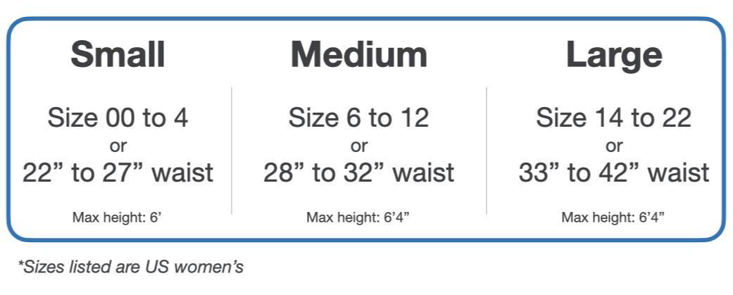 Sizing chart - size 00 to size 4 and 22 inch to 27 in waist, choose small. Size 6 to 12 or 28 inch to 32 inch choose medium. Size 14 to 22 or 33 inch to 42 inch choose large. Sizes listed are US women's