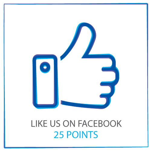 Like uns auf Facebook, um 25-Punkte zu sammeln