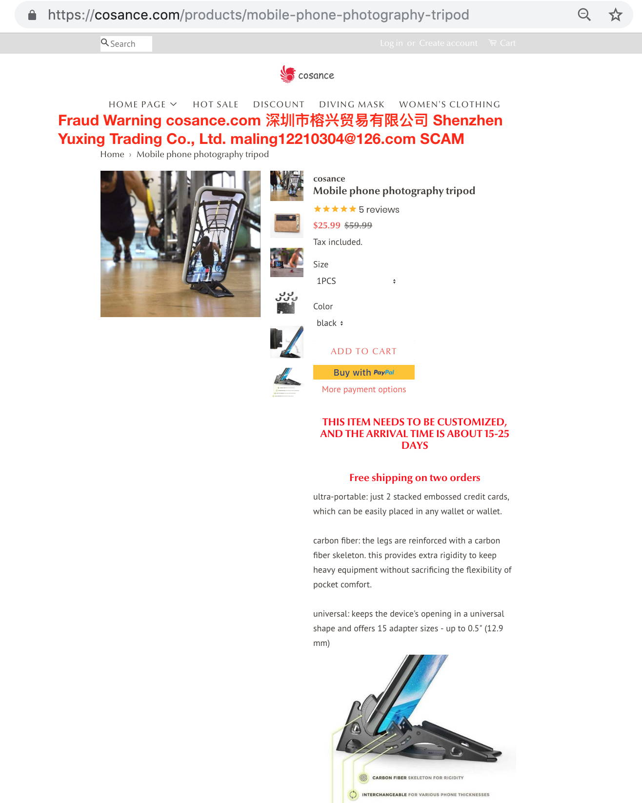 Fraud Warning cosance.com 深圳市榕兴贸易有限公司 Shenzhen Yuxing Trading Co., Ltd. maling12210304@126.com SCAM