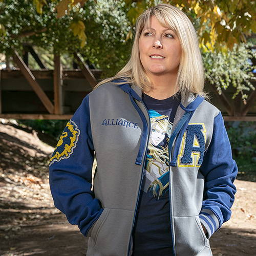 Photo of model wearing World of Warcraft Alliance Varsity Hoodie