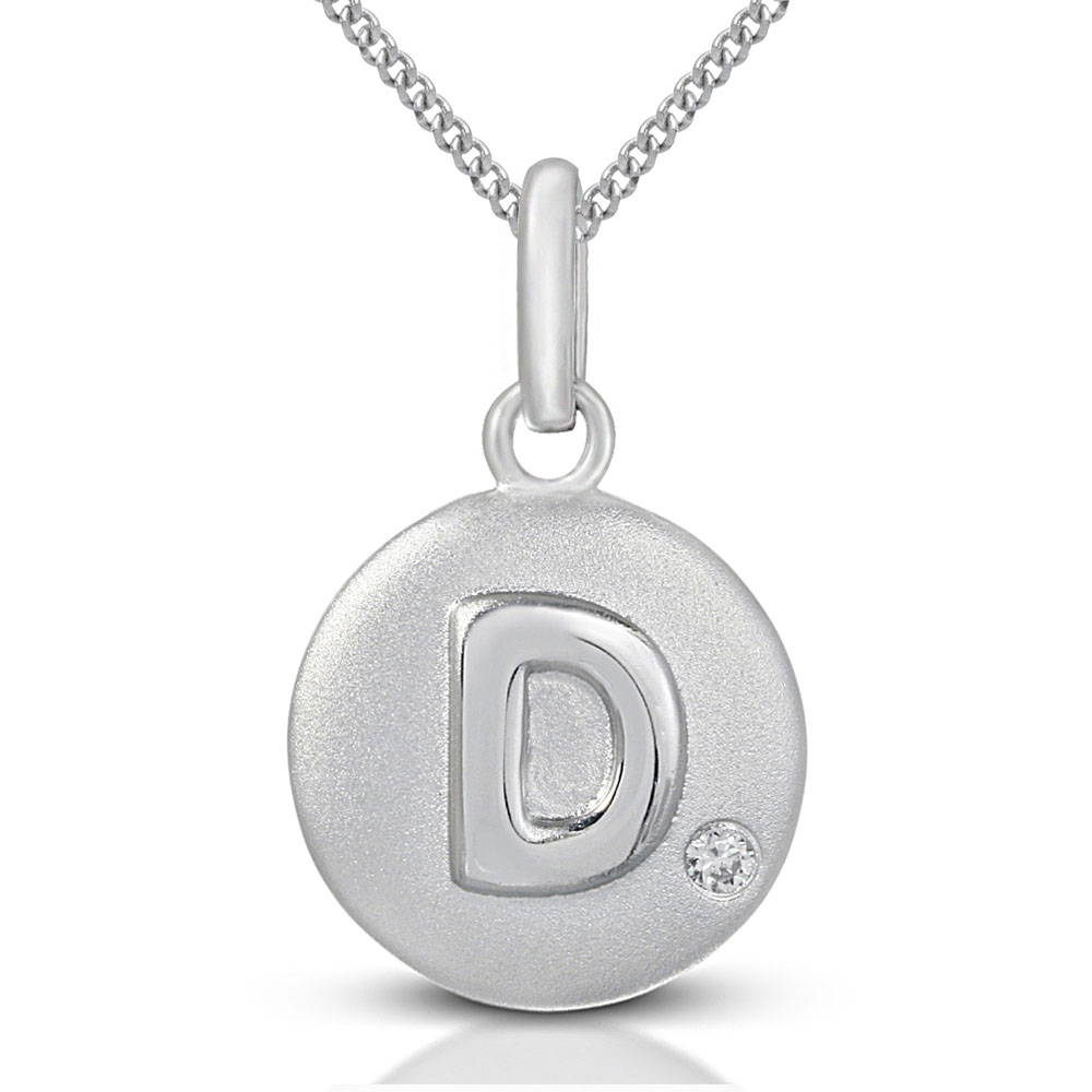 Pure at Birth letter D pendant with curb link necklace