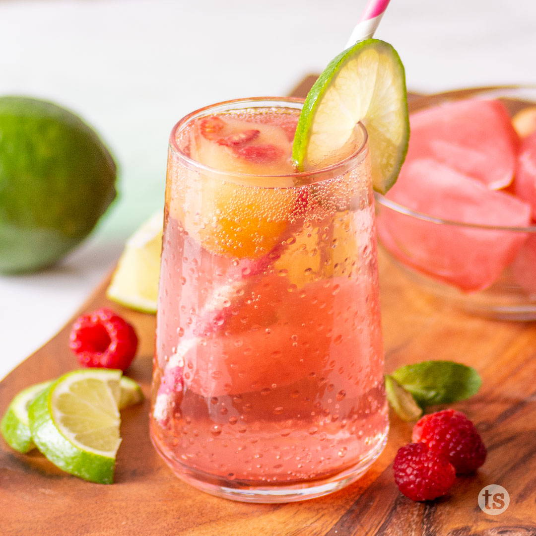 ice cubes in sparkling water and tea