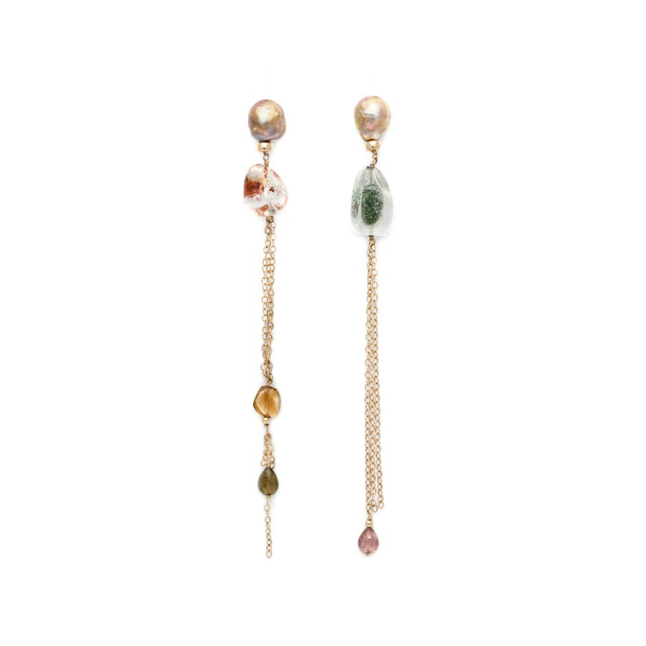 The Rock Crystal Chandelier Earrings: Mismatched rock crystal nuggets with rust/moss inclusions hang from pale pink baroque pearls, trailing citrine and watermelon tourmaline drops.