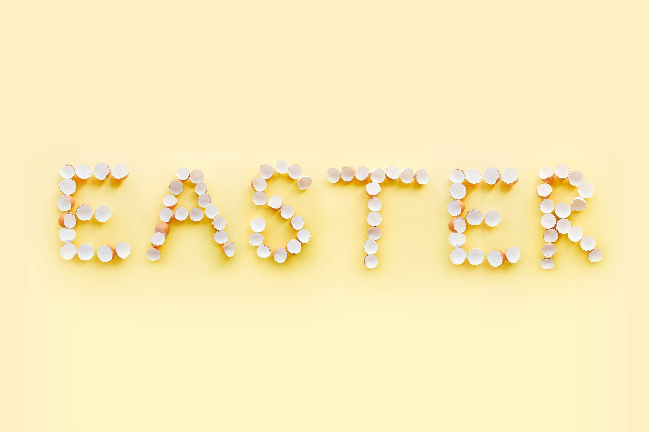 Easter Sign Made Out Of Egg Shells
