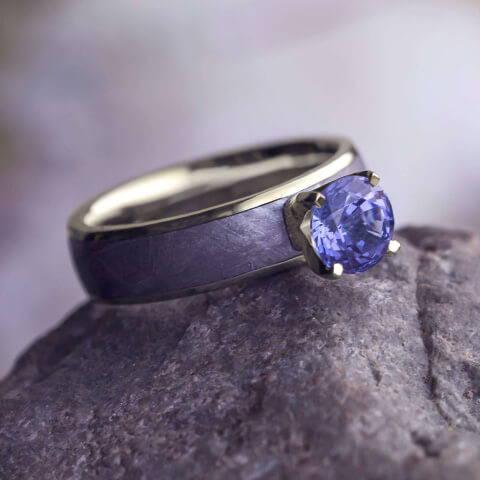 Tanzanite Engagement Ring With Meteorite