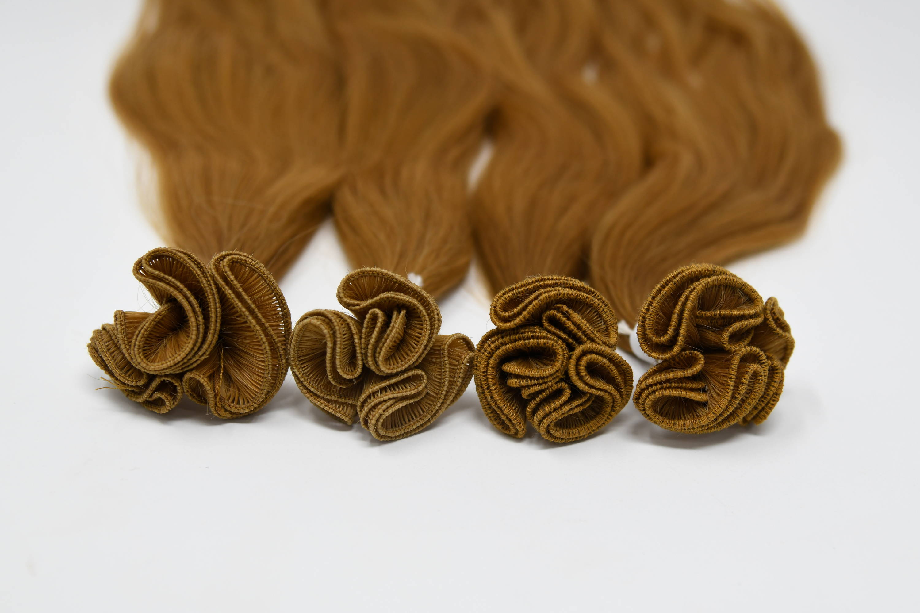 trials hand tied weft to test new stitching types and lengths