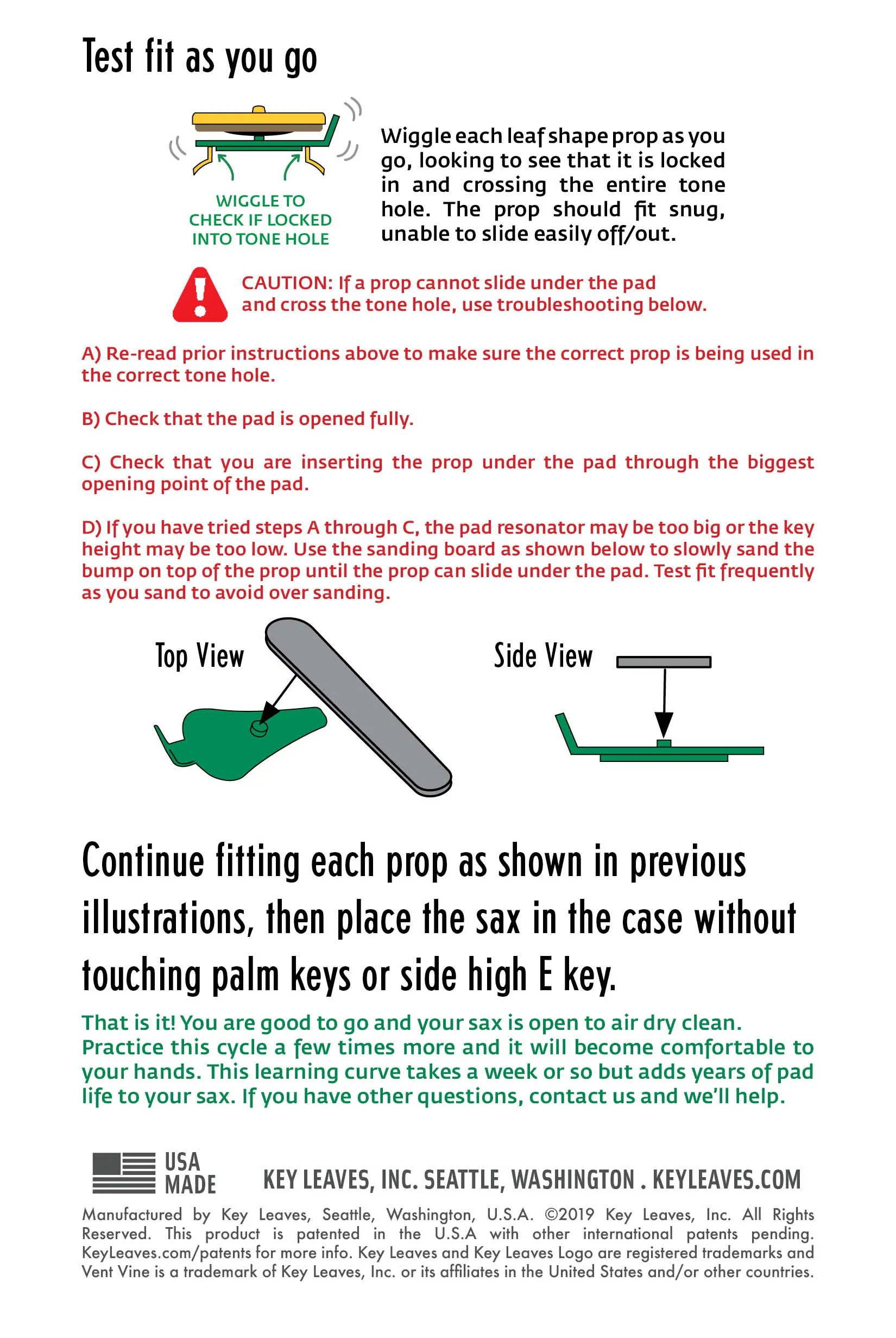 Saxophone Vent Vine instructions page 3 of 3