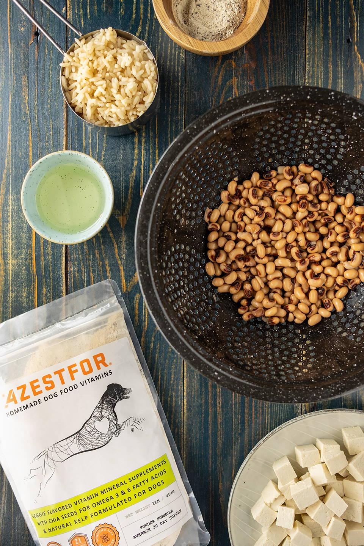 vegan dog food ingredients tofu sunflower oil black eyed  peas vitamins