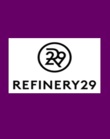 Purple rectangle icon with Refinery 29 logo in center