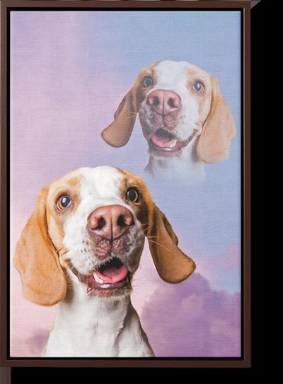super imposed retro dog art on framed canvas
