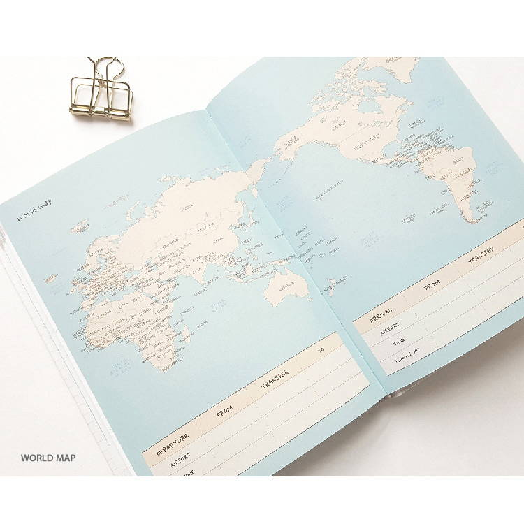 World map - O-CHECK 2020 Shiny days hardcover dated weekly diary planner
