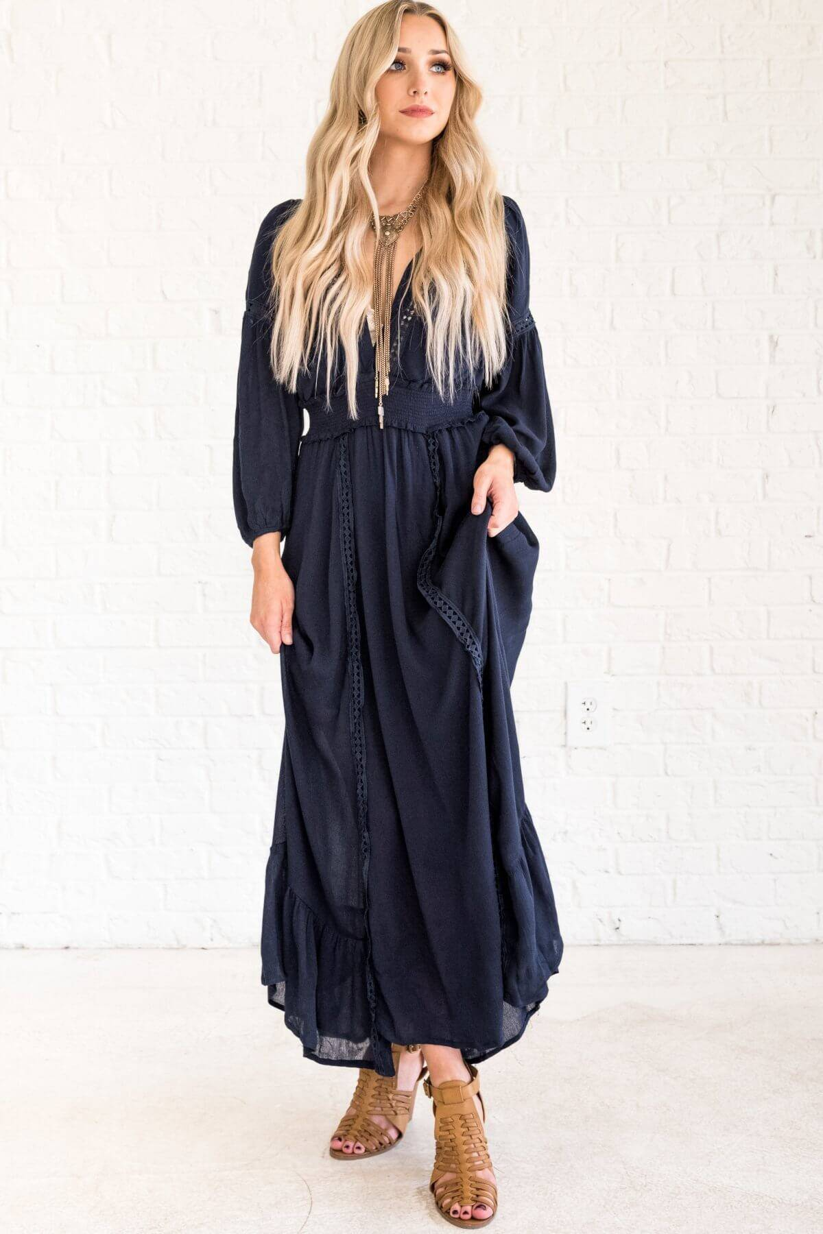 Navy Blue Cute Maxi Dresses with Long Sleeves and V Neckline