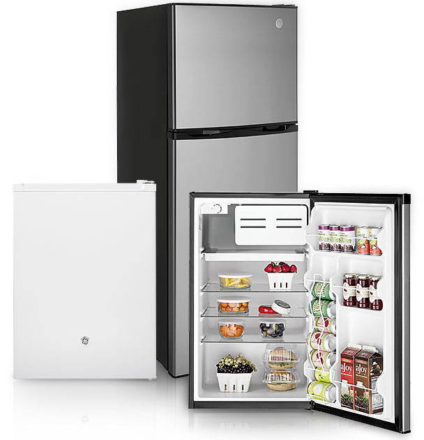 Group of compact refrigerators from GE Appliances.