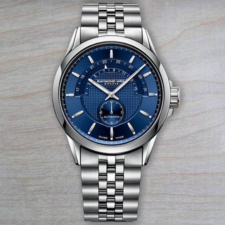 Raymond Weil Freelancer Half Moon Stainless Steel and Blue Timepiece