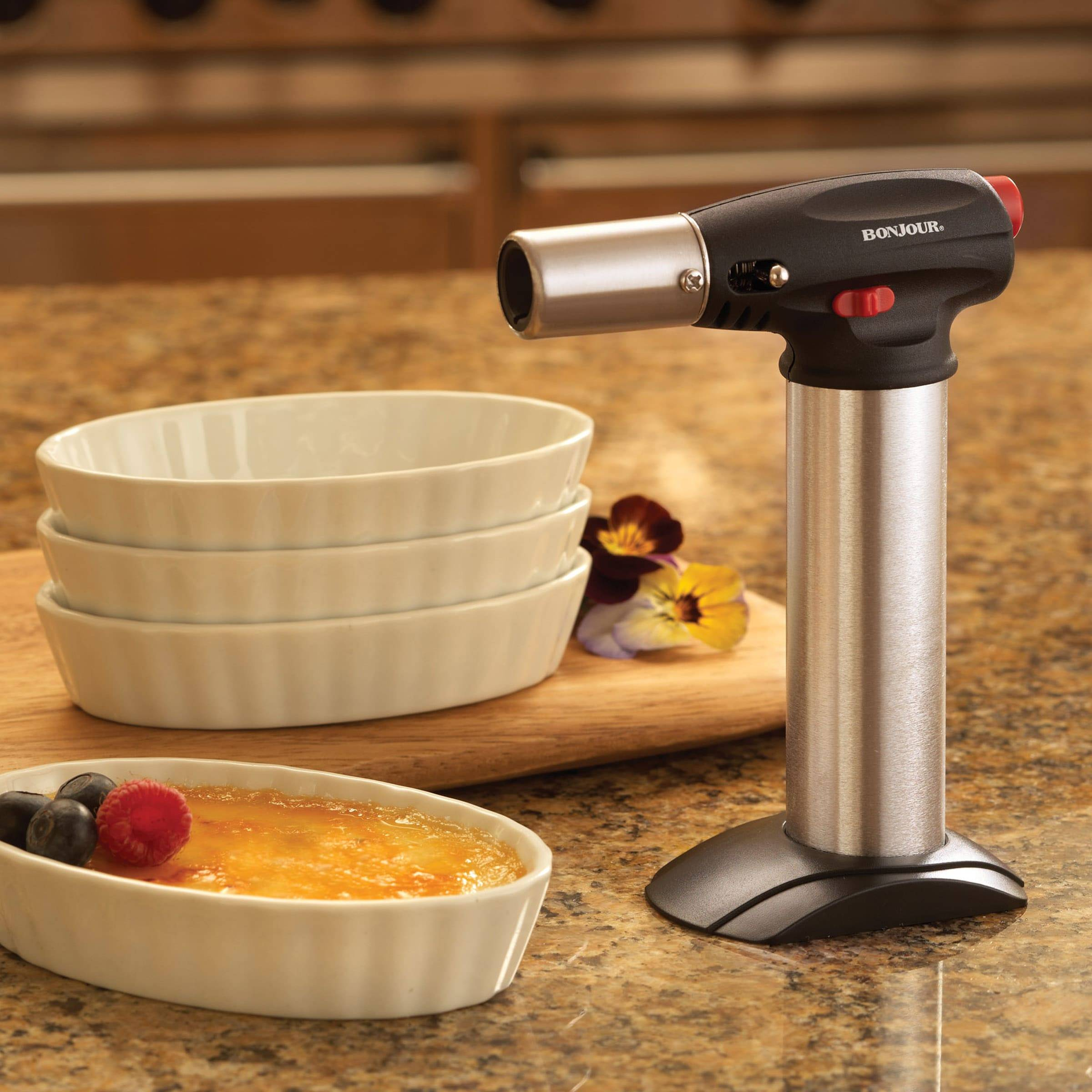 BONJOUR CHEF'S TOOLS PROFESSIONAL CULINARY  CRME BRLE TORCH, BLACK
