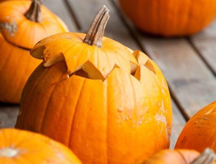 Pumpkins with lids cut off
