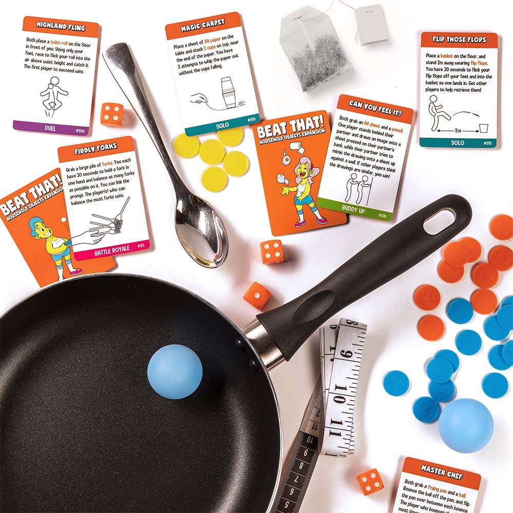 Example challenges from Beat That! household objects expansion pack