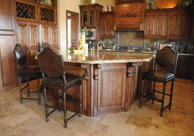 spanish revival kitchen and barstool