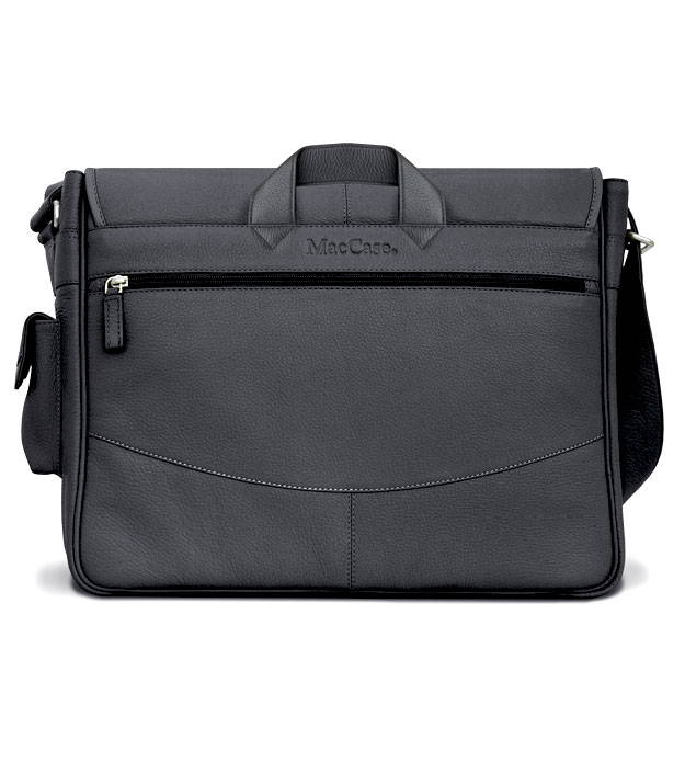 Rear view of the classic black leather shoulder bag