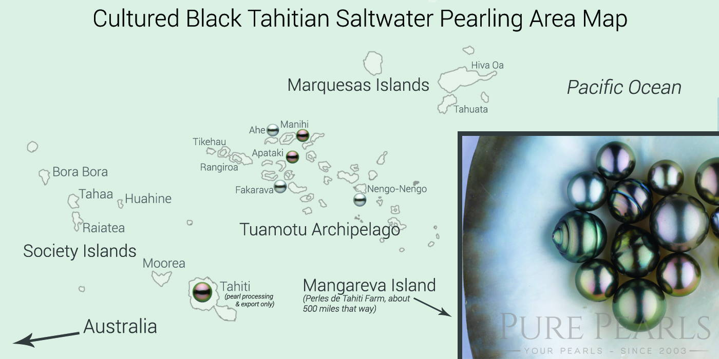 Map of Tahitian Pearling Areas