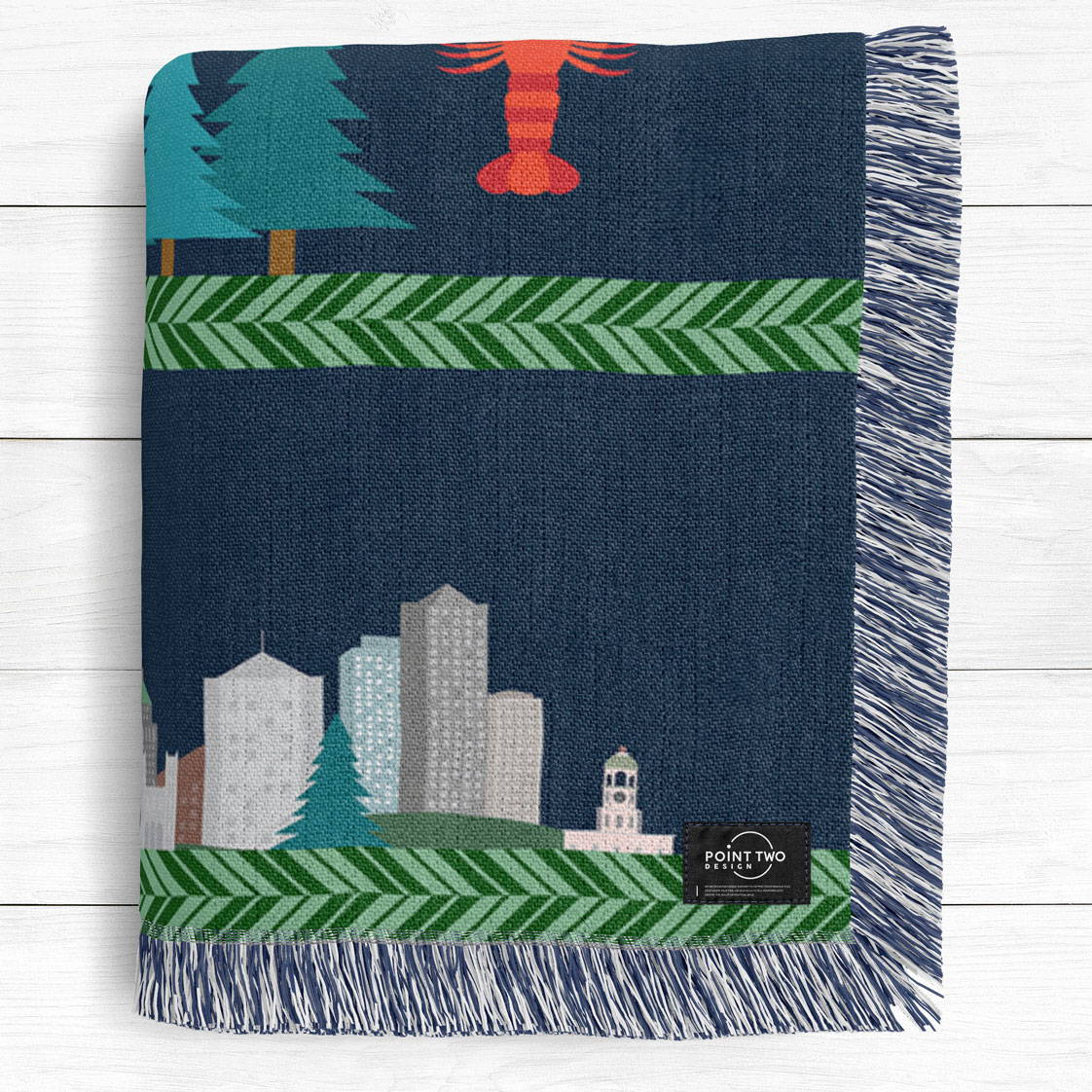 modern illustrated artwork of Canada from north to south as a cotton woven blanket