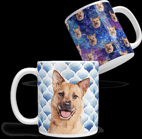 custom coffee mugs with dog art