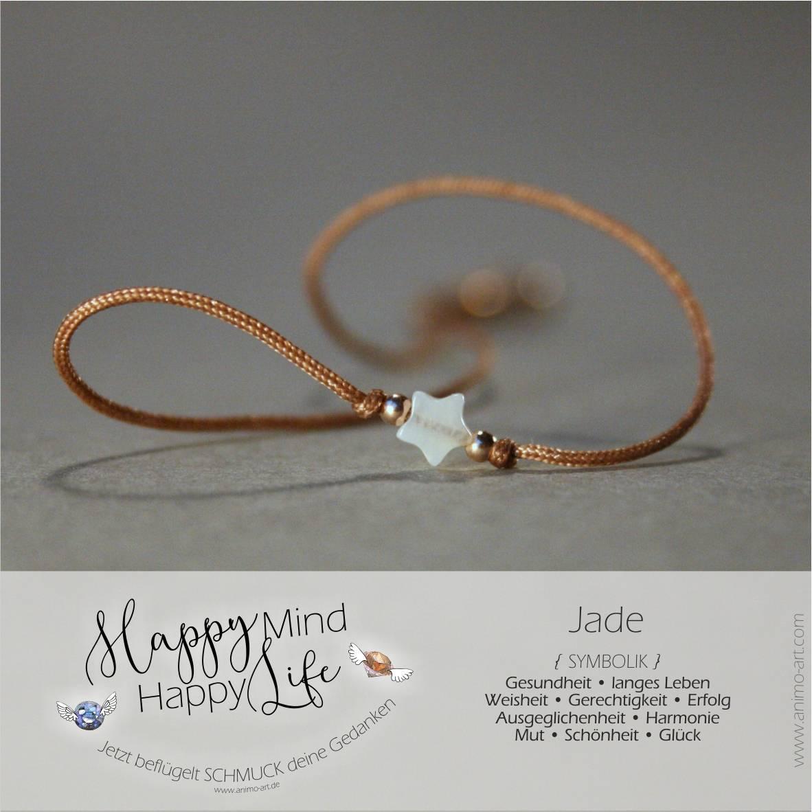 Jade Bedeutung, Armband mit Jade-Edelstein in weiß, Happy Mind Happy Life