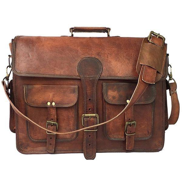 The Jones Leather Messenger Bag for Men for 17 Inch Laptops - Full Grain Leather Bag