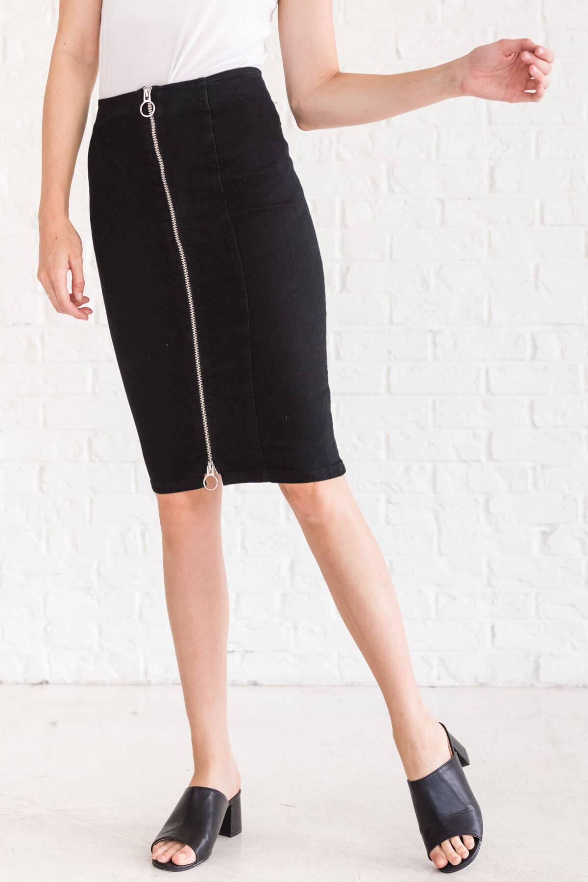 Black Zipper Zip Up Cute Black Midi Pencil Skirts Business Casual for Women