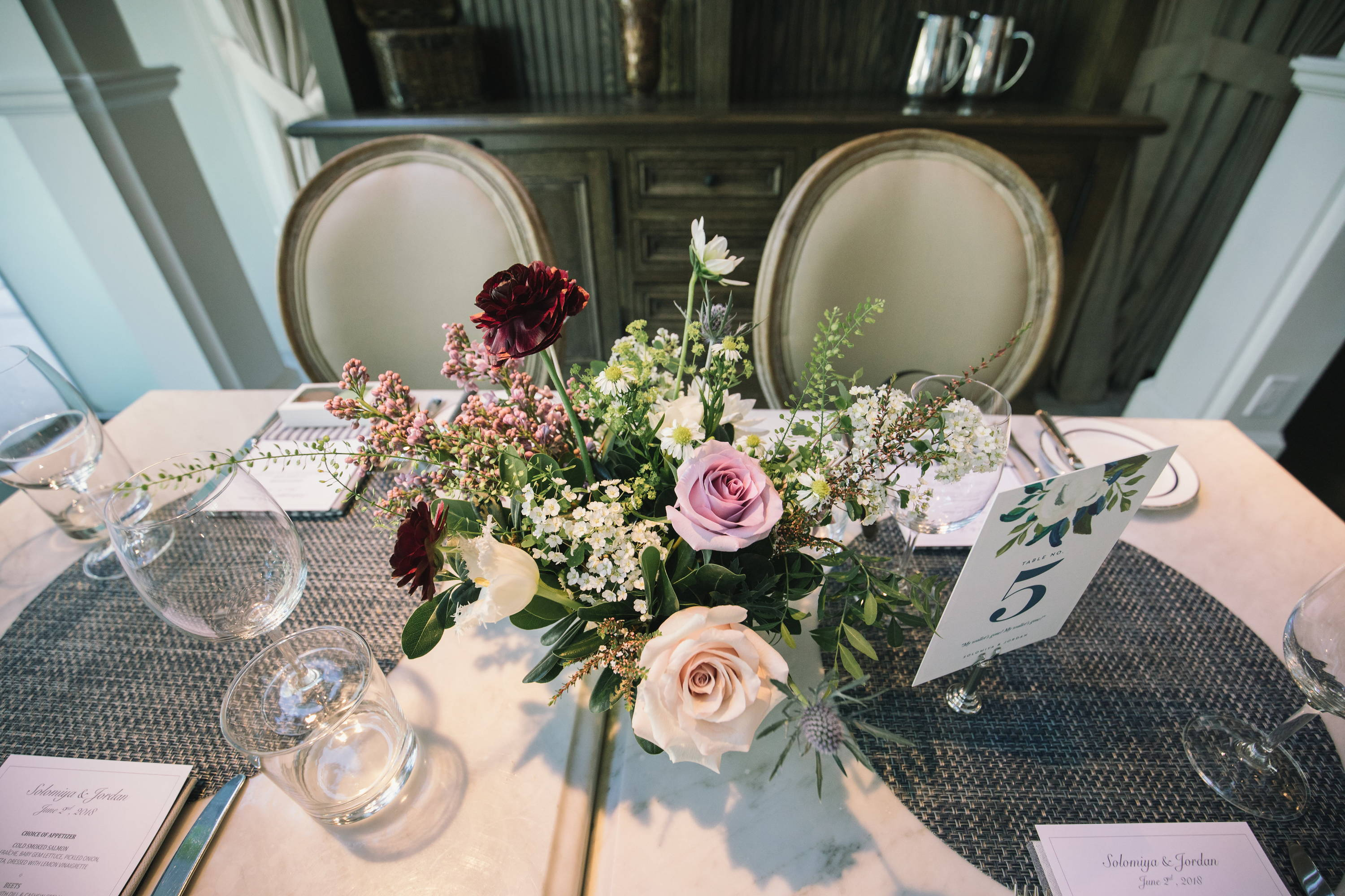 Wedding flowers at Colette Grand Cafe in Toronto