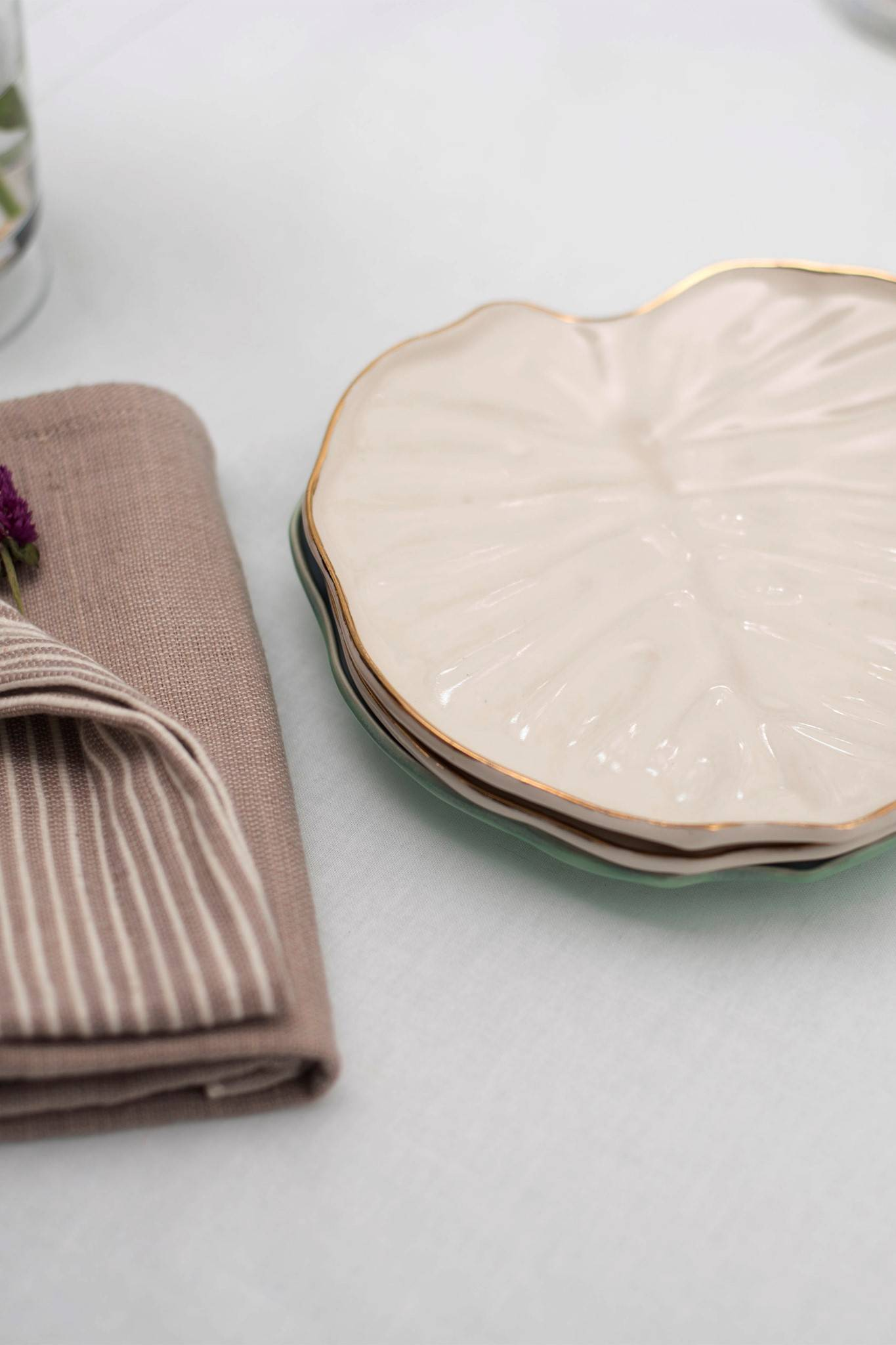 PHILODENDRON SALAD PLATE 2 SET - WHITE GOLD RIM $ 95