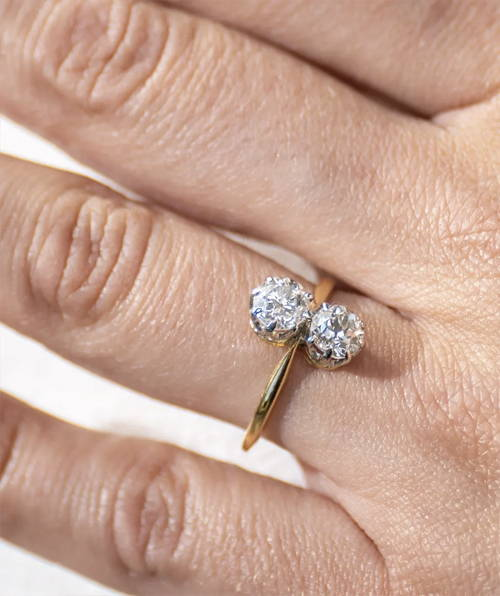 Antique Edwardian, 18ct Gold, Platinum, Two Stone Diamond Engagement Ring