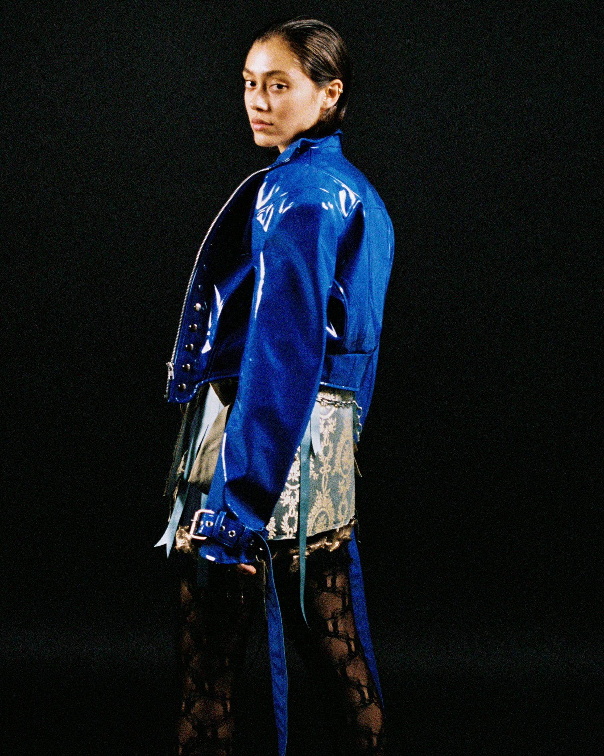Dilara Findikoglu F/W18 Women PVC Blue Jacket - Hlorenzo