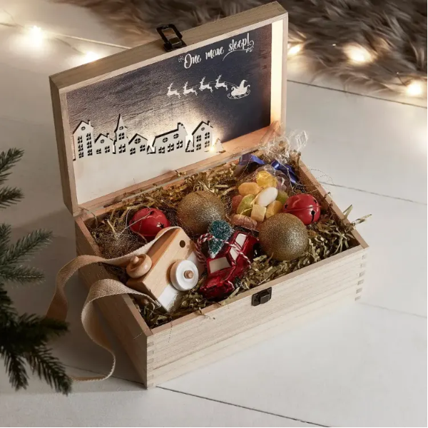 Light Up Christmas Eve Box filled with festive treats