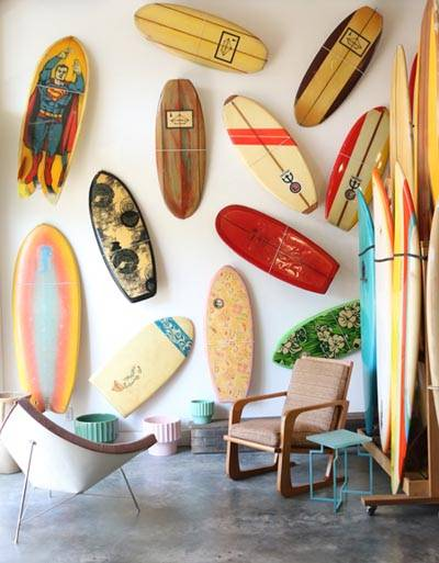 inside store surfboard display
