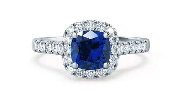 lab grown blue sapphire ring