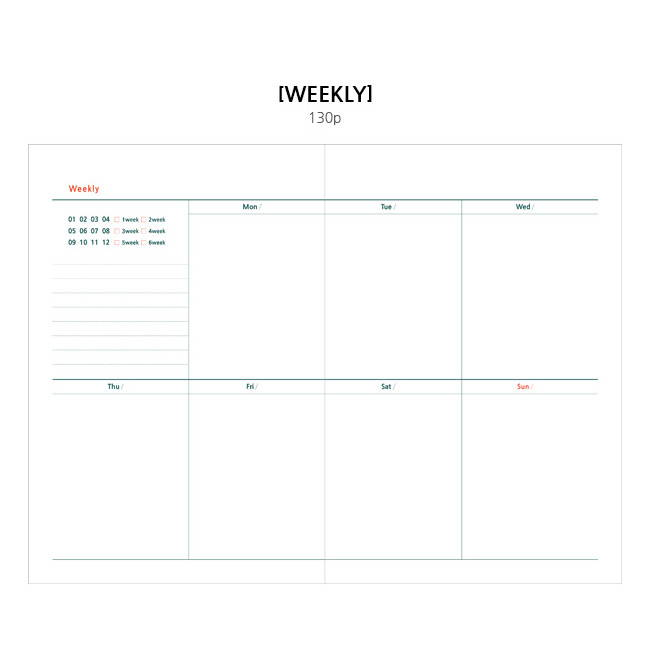 Weekly plan - Wanna This Tailorbird fabric dateless weekly planner ver5