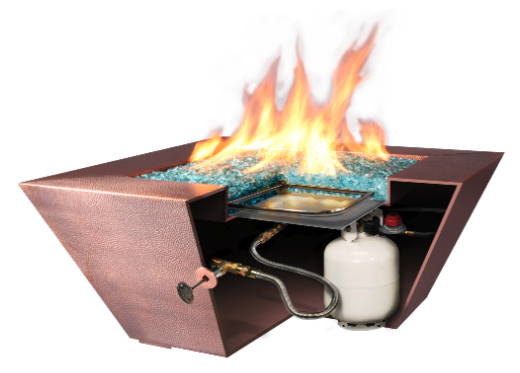 The features of a Liquid Propane Gas Copper Canyon fire pit.