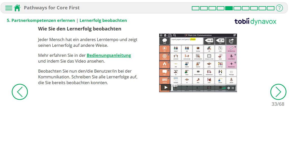 Screenshot eines Video-Tutorials in der UK-Ressource Pathways Online für Core First von Tobii Dynavox