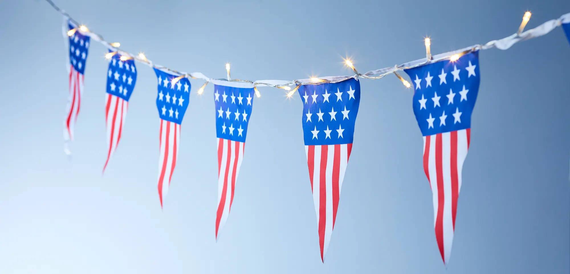 Flag bunting illuminated outdoors