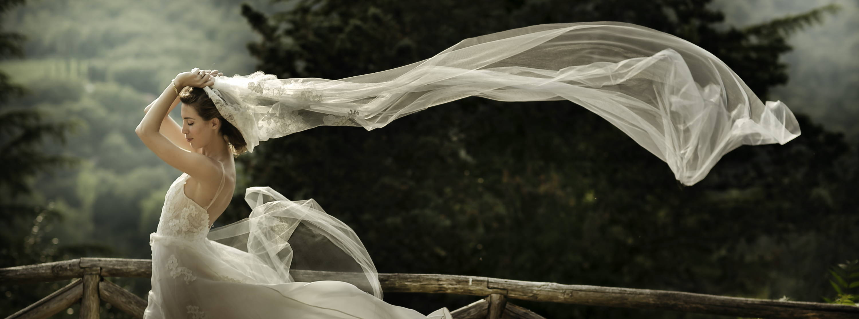 bride wedding veil Tuscany