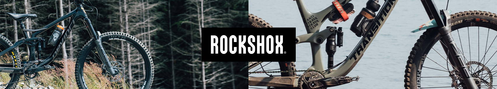 RockShox mountain bike suspension banner photo a devinci spartan with a rockshox zeb and super deluxe ultimate and a transition patrol with a rockshox zeb and a super deluxe ultimate with a meg neg