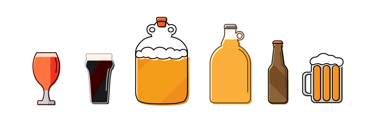 Beer glasses and home brew equipment