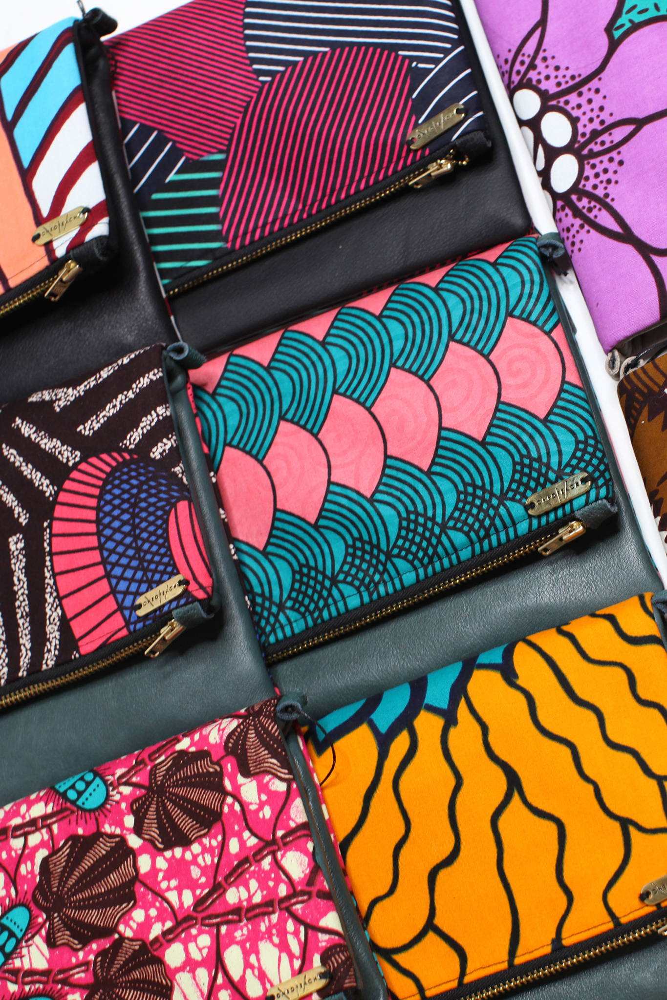 AFRICAN PRINT LEATHER CLUTCHES Colorful Ankara and Seshweshwe African-inspired handbags