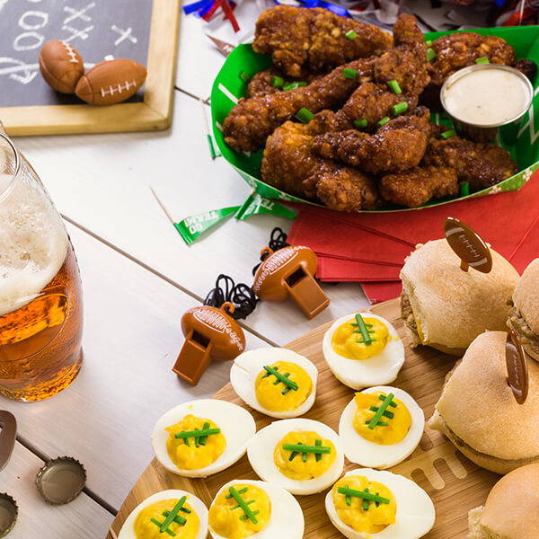 High Quality Organics Express deviled eggs, with wings and sliders