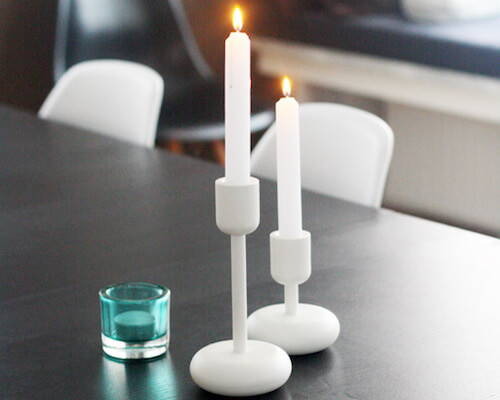 Contemporary candle holders from iittala Nappula Candleholder