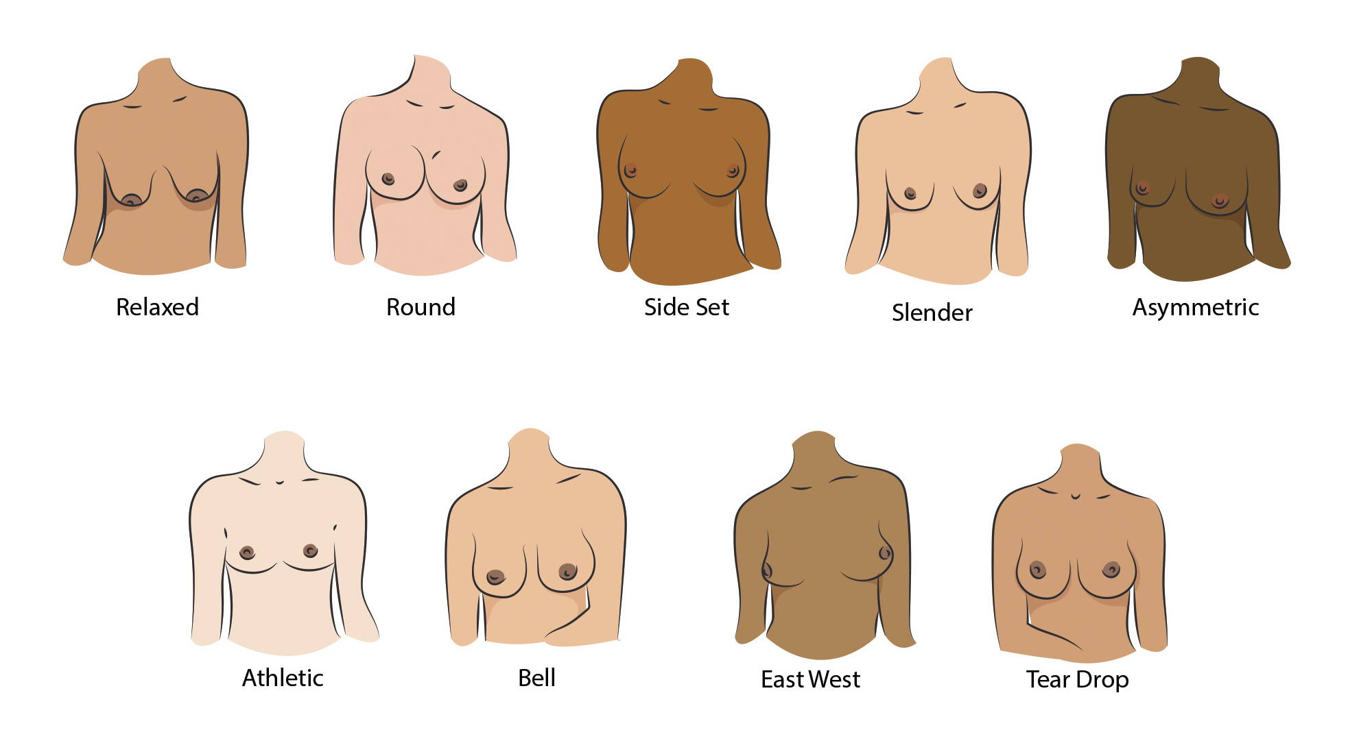 An illustration of the nine different breast shapes.