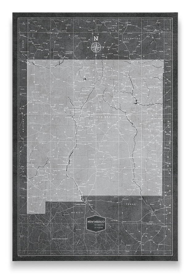 New Mexico Push pin travel map modern slate